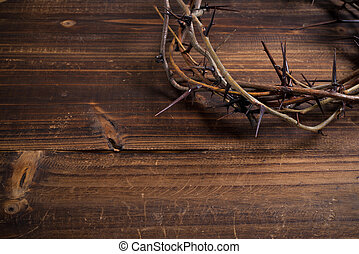 荊棘的王冠, 上, a, 木制, 背景, -, 復活節