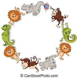 荒野, 邊框, 動物, 輪