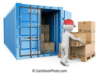 荷を下すこと, 容器, 人々。, 労働者, 3d, 白