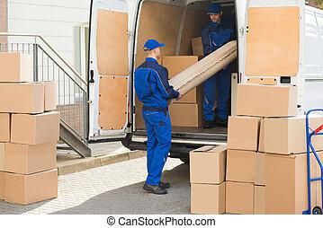荷を下すこと, 巻かれた, トラック, 敷物, 発動機