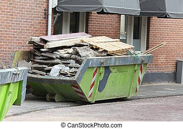 荷を積まれる, 建築現場, dumpster