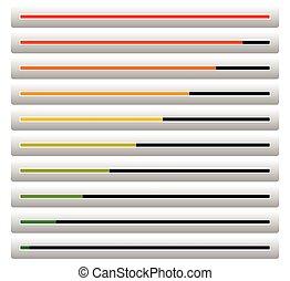 荷を積みなさい, 完成, バー, レベル, -, 高く, indicators., 低い, 進歩