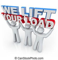 荷を積みなさい, 私達, 保有物, 人々, -, リフト, 言葉, あなたの