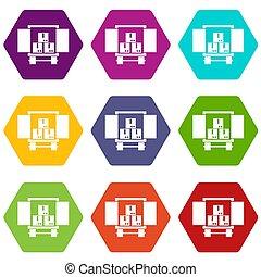 荷を積みなさい, 貨物, セット, 色, hexahedron, トラック, アイコン