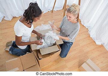 荷を解くこと, 家, 箱, 新しい, housemates, 若い