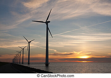 荷兰人, 海外, windturbines, 在期间, a, 美丽, 日落