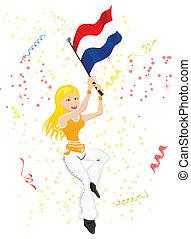 荷蘭, 足球, 迷, 由于, flag.