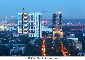 莫斯科, -, 六月, 1:, bogorodsky, 住宅, 复杂, 在建设下面, 在, 晚上, 在上, 六月, 1,...
