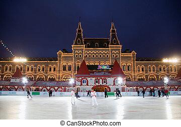 莫斯科, -, 十二月, 5:, the, 溜冰场, 有, 打开, 在上, 红场, 在之前, 从事贸易, 房子, 树胶,...