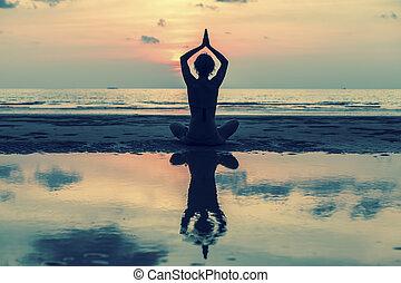 莲, 妇女, 瑜伽姿态, 坐