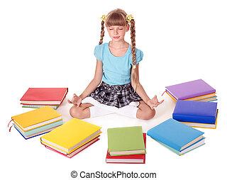 莲, 学校, 孩子, position., 坐