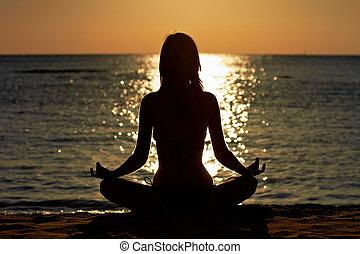 莲, 海边, 沉思, 妇女, 瑜伽