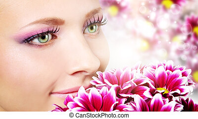 菊花, 妇女, 美丽, 脸