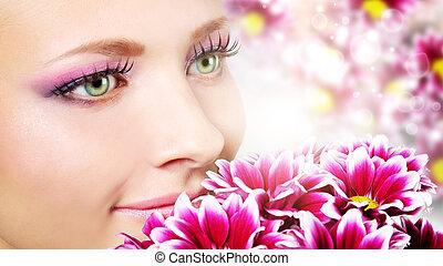 菊, 女, 美しさ, 顔