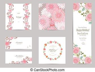 菊, 挨拶, コレクション, desig, カード, あなたの