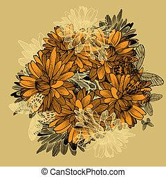菊, 黄色の背景, butterflies., 花, hand-drawing.