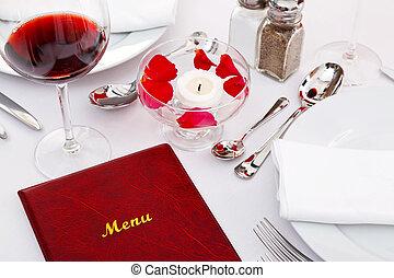 菜單, 上, a, 餐館, 桌子