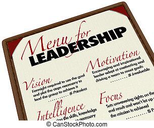 菜單, 理想, 經理, 領導, qualities, 領導人