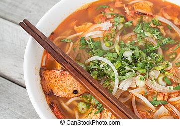 菜食主義者, 中央である, ベトナム語, 暑い, そして, ぴりっとする, スープ, ロールパン, bo, 色合い,...