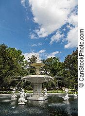 華やか, 噴水, 中に, forsyth, 公園
