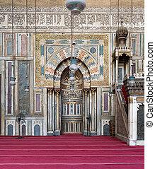 華やか, 壁, ∥で∥, 彫刻が施された, 適所, モスク, の, サルタン, hassan, エジプト