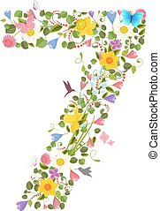 華やか, 壷, consisting, の, ∥, 春の花, そして, 飛行, hummingb