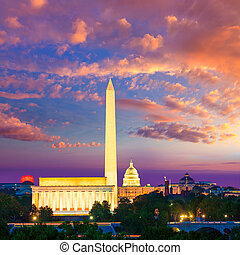 華盛頓紀念碑, 州議會大廈, 以及, 林肯紀念館