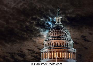 華盛頓, 圓屋頂, 夜晚, 月亮, 建築物, 團結, 細節, 國家, 州議會大廈, 充分, dc