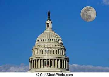 華盛頓, 建設細節, 國家, 月亮, 州議會大廈, 充分, dc, 團結, 圓屋頂