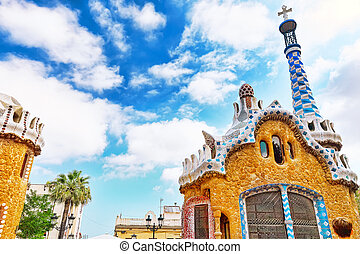 華麗, 以及, 惊人, 公園, guel, 在, barcelona.