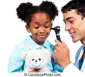 華麗, 种族, 小女孩, 由于, 她, 玩具熊, 當時, a, 醫學, 訪問