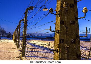 营房, 大约, 栅栏, birkenau, auschwitz, 集中, 波兰
