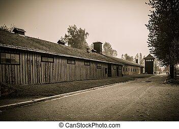 营房, 木制, 波兰, auschwitz, 卫兵, 我, 兵营, 集中, 纳粹, 以前