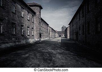 营房, 波兰, auschwitz, 我, 兵营, 集中, 纳粹, 以前