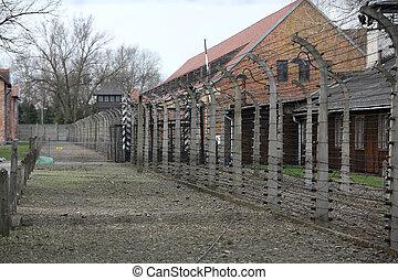 营房, 电, 栅栏, 波兰, auschwitz, 我, 集中, 纳粹, 以前