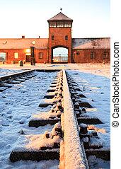 营房, birkenau., auschwitz, 门, 集中, 主要, 纳粹