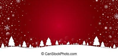 落ちる, 冬, クリスマス, 背景, 松の木, 雪片, 雪, ベクトル, イラスト, デザイン