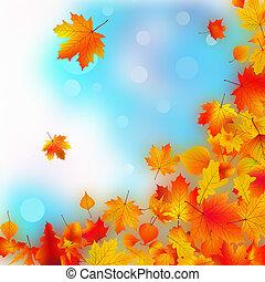 落ちる, 秋, leaves.
