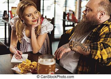 落ち着いた, あごひげを生やしている, 執筆, 女性, 幸せ, 順序, 人