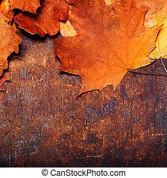 落ち葉, 秋, 背景, 木製である, leaves., 古い, 秋, 赤い黄色, 背景, オレンジ, 型