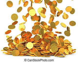 落下的硬币, 隔离, 背景, 白色
