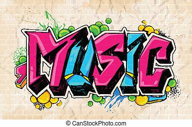 落書き, スタイル, 音楽, 背景