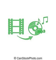 落書き, ビデオ, 印。, 白, バックグラウンド。, 固体, オーディオ, 緑, illustration., アイコン, 変換器, 輪郭