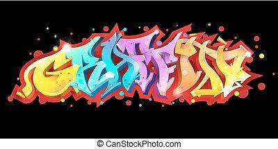 落書き, レタリング, 上に, 黒, バックグラウンド。, 通りの 芸術, style.