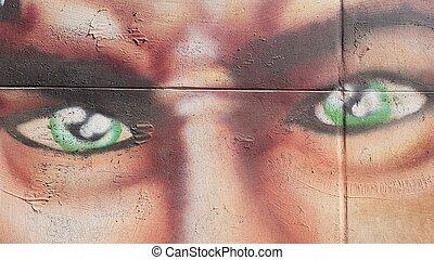 落書き, 目, 緑