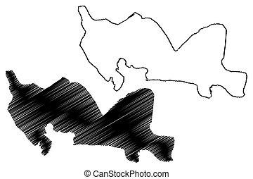落書き, hispaniola, santo, スケッチ, イラスト, (dominican, 州, ベクトル, 共和国...