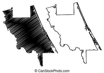 落書き, us), u.。s.。, 地図, 州, volusia, アメリカ, アメリカ, 郡, (u.s., ベクトル...