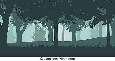 落葉性, ベクトル, 緑の森林, イラスト