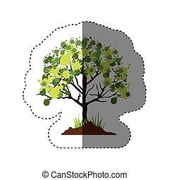 葉が多い, ステッカー, シルエット, 木, カラフルである
