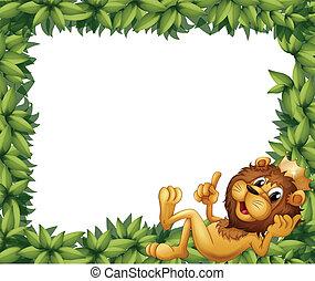 葉が多い, フレーム, 王冠, ライオン